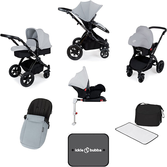 Ickle Bubba V3 All In One Travel System with isofix base in Silver on Black Chassis