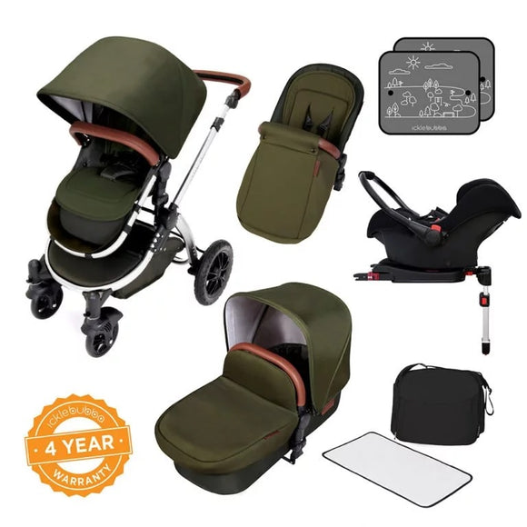 Ickle Bubba Stomp V4 All in One Isofix Travel System in Woodland Chrome