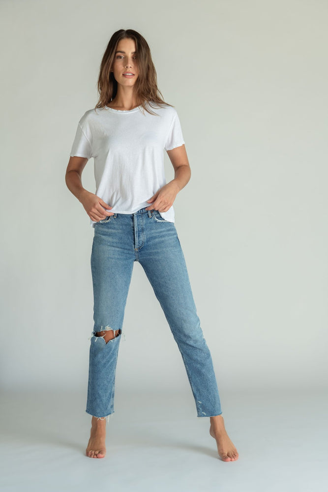 Load image into Gallery viewer, perfectwhitetee - Harley Boxy Crew Tee - Pilates Plus La Jolla - shop OHEY