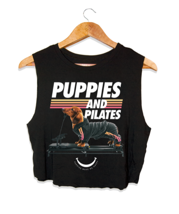 Puppies Make Me Happy - Puppies & Pilates - Black