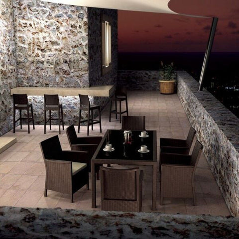 Compamia California Wickerlook Resin Patio Dining Set 7 Piece