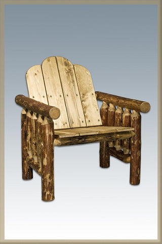 Glacier Country Log Deck Chair - Exterior Stain Finish