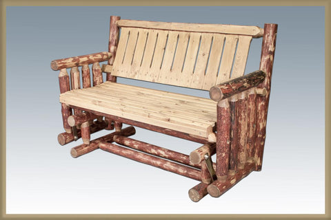 Glacier Country Log Glider - Exterior Stain Finish