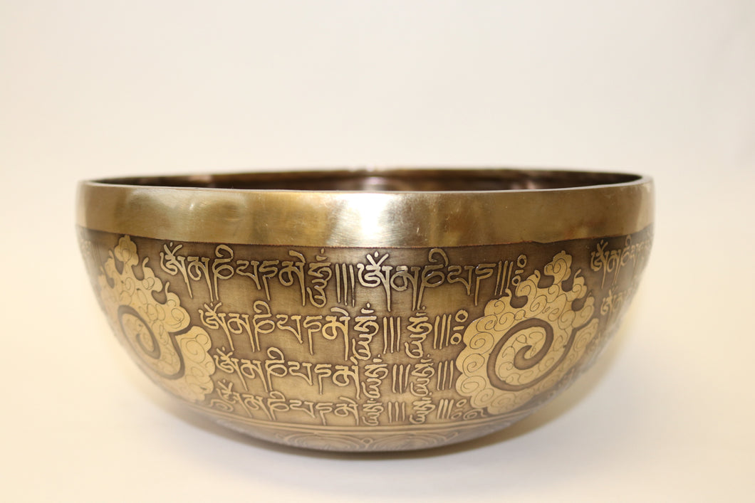 Tibetan Mantra Carving Singing Bowl Handcrafted from Nepal