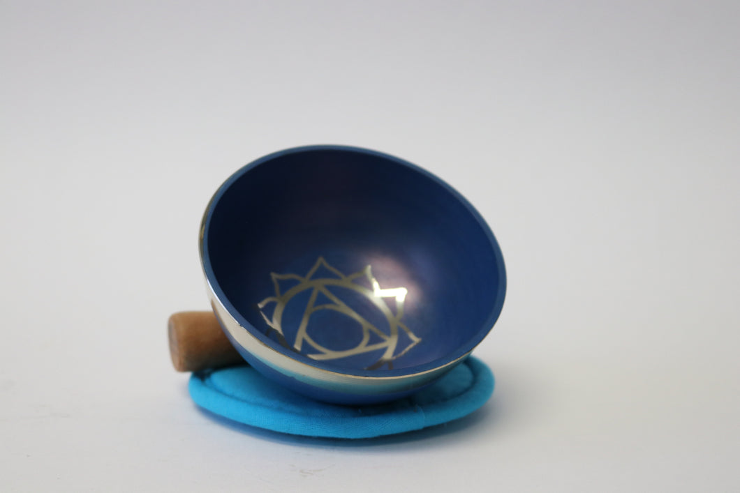 Portable Blue Singing Bowl Gift Set with Mallet and Cushion Handcrafted from Nepal