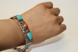 Sterling Silver Turquoise and Coral Tibetan Bracelet Handcrafted from Nepal