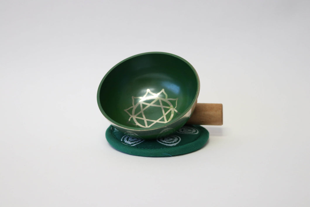 Portable Green Singing Bowl Gift Set with Mallet and Cushion Handcrafted from Nepal