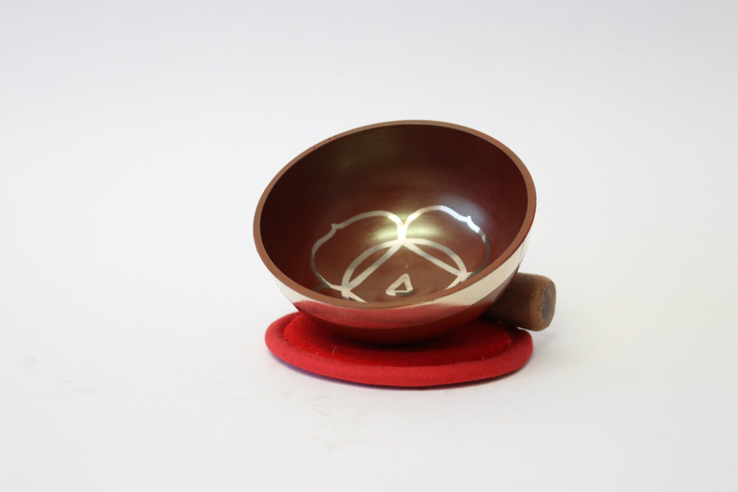 Portable Red Singing Bowl Gift Set with Mallet and Cushion Handcrafted from Nepal