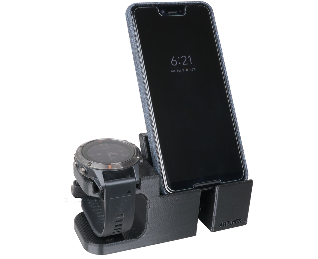 Artifex Design Stand Configured for Garmin Fenix 5 and 5s Smartwatch Charging Stand, Charging Dock Stand, Will not fit 5X (Combo) - Artifex Design 3D