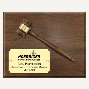 "10"" x 8"" Genuine Walnut Gavel Plaque with Bright Gold Laser Engraved Plate"