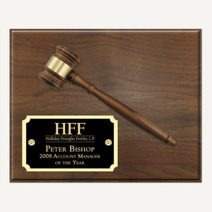 "10"" x 8"" Genuine Walnut Gavel Plaque with Laser Engraved Gloss Black Plate"