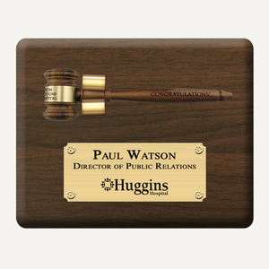 "10"" x 8"" Genuine Walnut Gavel Plaque with Removable Gavel and Laser Engraved Bright Gold Plate"