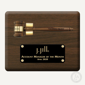 "10"" x 8"" Genuine Walnut Gavel Plaque with Removable Gavel and Laser Engraved Gloss Black Plate"