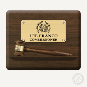 "10"" x 8"" Genuine Walnut 8"" Gavel Pedestal Plaque with Laser Engraved Bright Gold Plate"