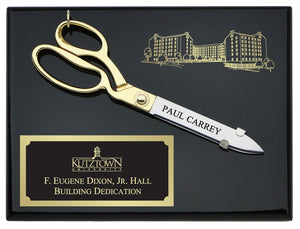 "10-1/2"" Ceremonial Scissors Piano Finish Plaque with Engraved Plate and Board"