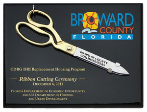 "10-1/2"" Ceremonial Scissors Piano Finish Plaque with Engraving and Full Color Printing Directly on Board"
