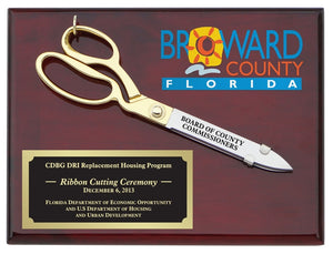 "10-1/2"" Ceremonial Scissors Piano Finish Plaque with Full Color Printing"