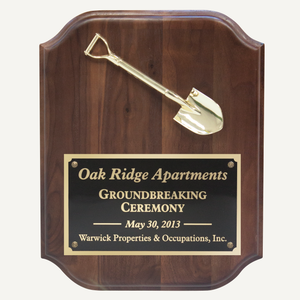"12"" x 15"" Miniature Groundbreaking Shovel Plaque"