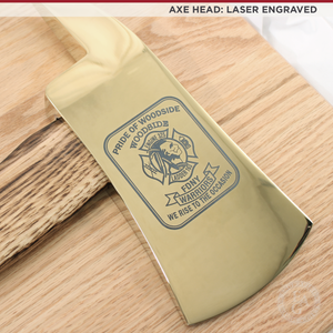 "15"" Gold Plated Ceremonial Firefighter Axe - Flamed - Laser Engraved Head"