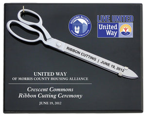 "15"" Chrome Plated Ceremonial Scissors Piano Finish Plaque"
