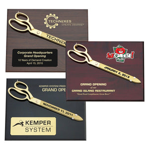 "15"" Gold Plated Ceremonial Scissors Piano Finish Plaque"