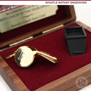 24KT Gold Plated Whistle Award with Custom Coach Engraving