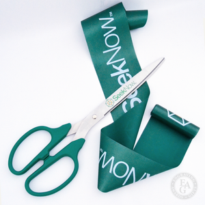 25in Green Scissors with Silver Blades and Full Color Printing and Green Custom Printed Ribbon