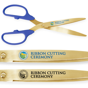 25in Giant Blue Ribbon Cutting Scissors with Gold Blades - Custom