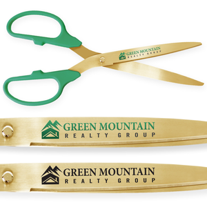 25in Giant Green Ribbon Cutting Scissors with Gold Blades - Custom