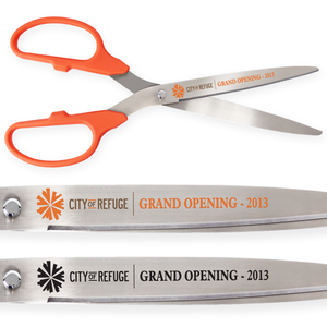 25in Giant Orange Ribbon Cutting Scissors with Silver Blades - Custom