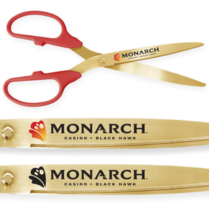 25in Giant Red Ribbon Cutting Scissors with Gold Blades - Custom