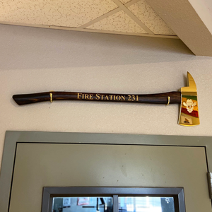 "36"" Gold Plated Ceremonial Firefighter Axe - Flamed"