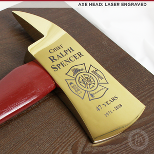 "36"" Gold Plated Ceremonial Firefighter Axe - Red"