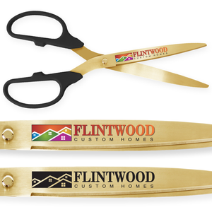 36in Giant Black Ribbon Cutting Scissors with Gold Blades - Custom