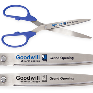 36in Giant Blue Ribbon Cutting Scissors with Silver Blades - Custom