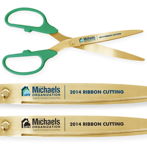 36in Giant Green Ribbon Cutting Scissors with Gold Blades - Custom