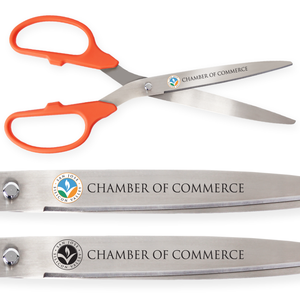 36in Giant Orange Ribbon Cutting Scissors with Silver Blades - Custom