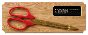 "36"" Ceremonial Ribbon Cutting Scissors Oak Plaque"