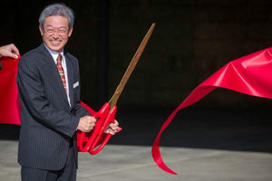 "36"" Red Ribbon Cutting Scissors with Gold Blades"