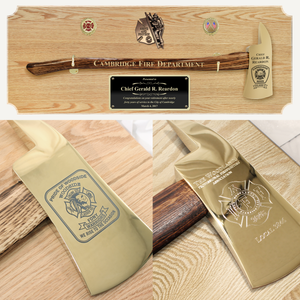 42x16 Oak Firefighter Award Plaque - Gold Axe