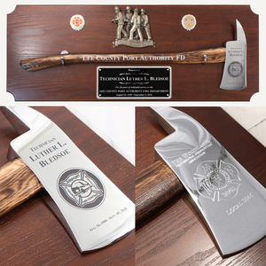 42x16 Walnut Firefighter Award Plaque - Chrome Axe