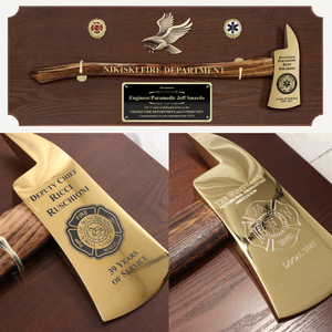 42x16 Walnut Firefighter Award Plaque - Gold Axe