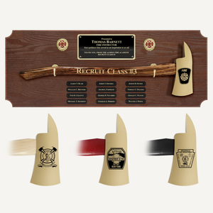 42x16 Walnut Firefighter Perpetual Award Plaque - Gold Axe