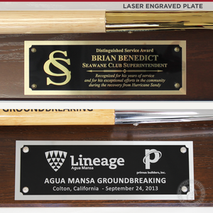 "45"" x 10-1/2"" Full Size Shovel Plaque - Laser Engraved Plate"