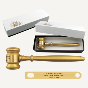 "8"" Gold Finish Gavel with Gift Box"