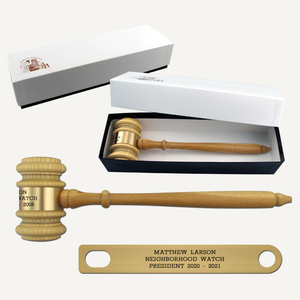 "10-1/2"" Oak Style Gavel with Gift Box"