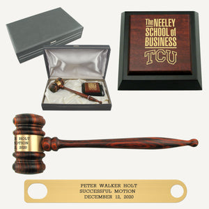 Imported Rosewood Presentation Gavel Sound Block and Case Set