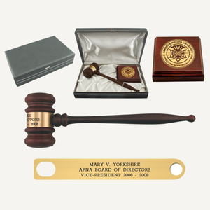 American Rosewood Presentation Gavel Sound Block and Case Set