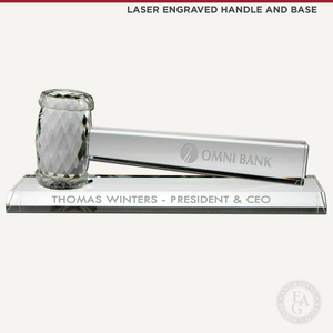 Optical Crystal Gavel Presentation Set Laser Engraved Handle and Base