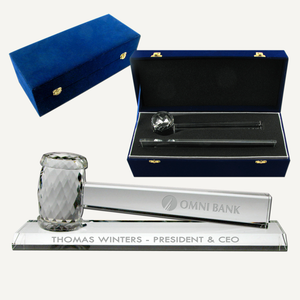 Optical Crystal Gavel Presentation Set
